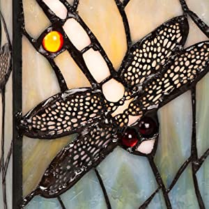 Beautiful Hand Crafted Louis Comfort Tiffany Inspired Decorative Dragonfly Design Square Glass Table Lamp