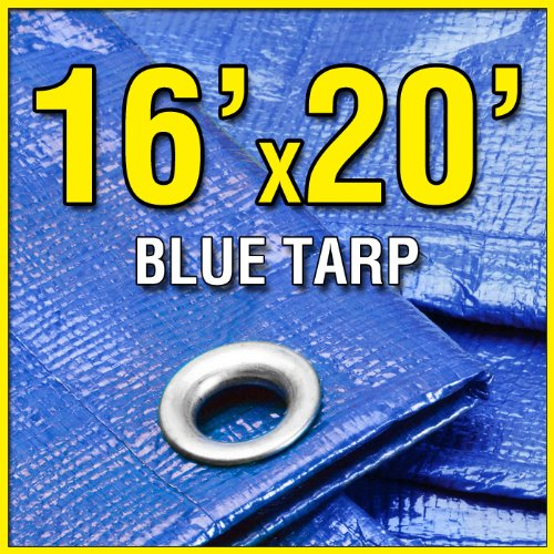 16' X 20' Blue Multi-Purpose 6-mil Waterproof Poly Tarp Shade Cover 16x20 Tarpaulin by Grizzly Tarps