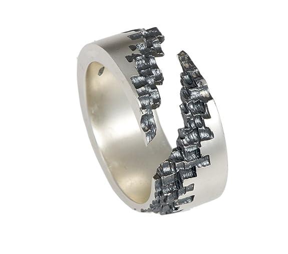 Jeremy Hoye Jewellery Rough Edged 'Luna' 10mm Diagonal Cut Silver Ring