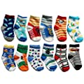 OKPOW 12 Pairs Baby Infants Toddler Socks Bright Random Colored Socks Anti-skid Cotton Socks Gift by OKPOW