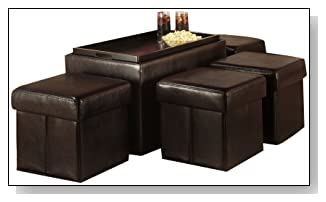 Manhattan Storage Bench With 4 Collapsible Ottomans