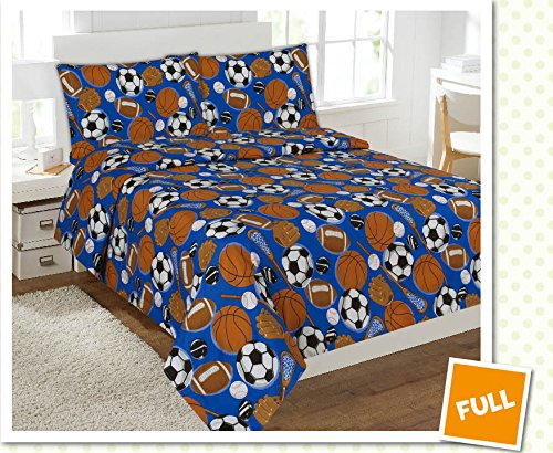 Fancy Collection 4 pc Kids/teens Sports Football Basketball Baseball Soccer Design Luxury Sheet set Full Size New (Boys Comforter Full Size compare prices)