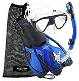 Phantom Aquatics Adult Mask Fin Snorkel Set with Mesh Bag, Blue, Large/X-Large/Size 9 to 13