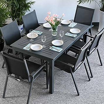 Lottie Tisch & 6 Stuhle - GRAU | Gartenmöbel-Set mit ausziehbarem 210cm Tisch