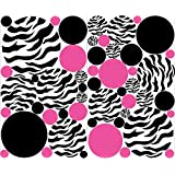 Zebra Print Hot Pink and Black Dots Wall Stickers / Decals