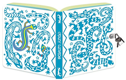 Peaceable Kingdom Crazy Lizard Color-In Shiny Foil Cover Lock and Key Diary - 1