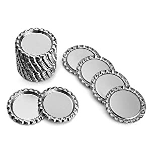 IGOGO 100 PCS Silver Chrome Bottle Caps for Hair Bows, DIY Pendants or Craft Scrapbooks (Color: Silver, Tamaño: 100pcs)