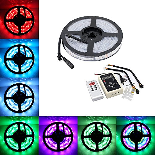 5M 16.4ft 150LEDs SMD 5050 Waterproof IP67 6803 IC Chip Dream Magic Color Changing RGB LED Strip + 133 Color Change RF Remote Controller (Dream Color Led compare prices)