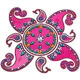 Snehal Arts Plastic Rangoli (SA-10, 23 Cm X 23 Cm X 0.3 Cm, Pink, Set Of 9)
