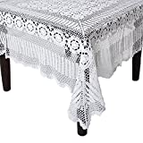 SARO LIFESTYLE 869 Crochet Tablecloths, 90-Inch, Round, White