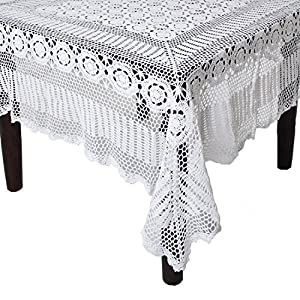 Amazon.com - SARO LIFESTYLE 869 Crochet Tablecloths, 90-Inch, Round