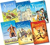 Various Usborne Young Reading Series 2 with CD Boy's Collection - 6 Books RRP £35.94 (Aesop's Fables + CD; The Wizard of Oz + CD; The Story of Castles + CD; Pinocchio + CD; Gulliver's Travels + CD; Treasure Island + CD)