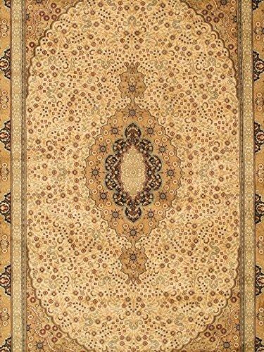 eCarpetGallery Kashan Kashmir 5-Feet 2-Inch by 7-Feet 7-Inch Viscose Rug, Beige