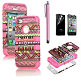 Pandamimi ULAK 3in1 Hybrid High Impact Hard Aztec Tribal Pattern + Pink Silicone Case Cover For iphone 4 4S +Screen Protector+Stylus Picture