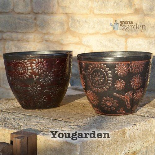 "Pair of 12"" (30cm) diameter Copper effect outdoor planters"