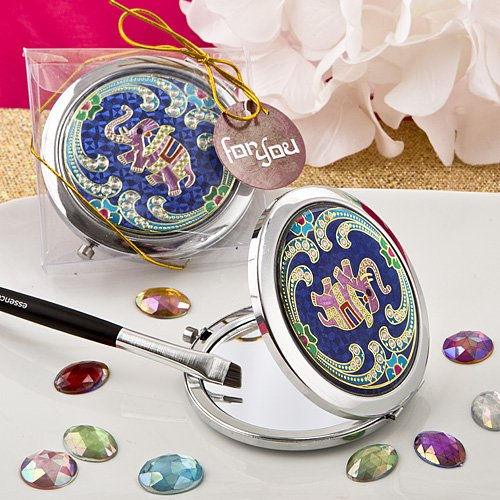 Indian Elephant Blue Metal Compact Mirror in Gift Box by Fashion Craft