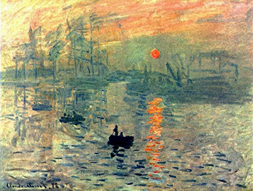 Wieco Art - Sunset by Claude Monet Famous Oil Paintings Reproduction Modern Framed Giclee Canvas Prints Seascape Artwork Sea Pictures on Canvas Wall Art for Living Room Home Decorations (Sunset Oil Painting compare prices)