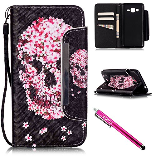 G530 Case, Galaxy Grand Prime Case, Firefish Stand Flip Folio Wallet Cover Shock Resistance Shell with Magnetic Closure for Samsung Galaxy Grand Prime G530 G530H G5308-Skull (Waterproof Drill compare prices)