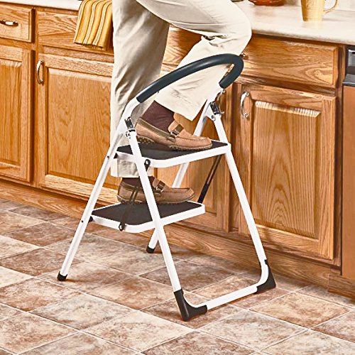 LavoHome 330lbs Upper Reach Reinforced Metal Folding Step-Ladder Household Kitchen Stool (Two Step Ladder)