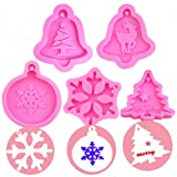 5Pcs/Set Christmas Resin Molds, Merry Christmas Tree Bell Snowflake Reindeer Silicone Chocolate Candy Mold Cake Cookie Epoxy Resin Keychain Pendent Jewelry Necklace Polymer Clay Plaster Mold