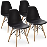 Giantex Set of 4 Mid Century Modern Style DSW Dining Chair Side Wood Assembled Legs for Kitchen, Dining, Bedroom, Living Room (Black) (Color: Black)