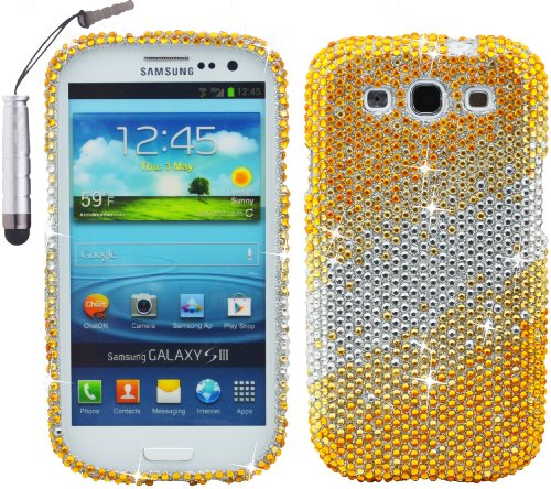 Gold Silver Diamond Rhinestones Bling Snap On Hard Case Cover Protector Skin Faceplate for Samsung Galaxy S3 - Includes Silver 1.7