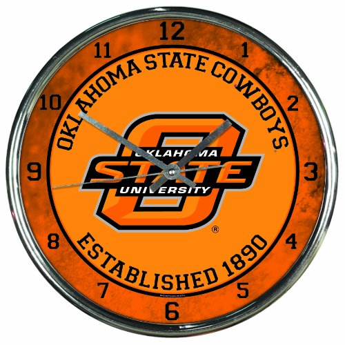 NCAA Oklahoma State Cowboys Chrome Clock