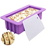 YGEOMER Silicone Soap Molds, 1pcs 38oz Rectangular Loaf Mold with Plastic Scraper for Handmade Soap (Color: Purple)