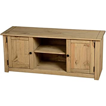 Panama - Mueble para TV de pantalla plana, 2 puertas y 1 estante - Pino macizo con cera natural
