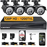 DEFEWAY 720P 4 CH 1 TB DVR HD Surveillance Camera System 4 Outdoor Bullet 720P Security Cameras - Quick Remote Access Setup Free App - 100ft(30m) Night Vision