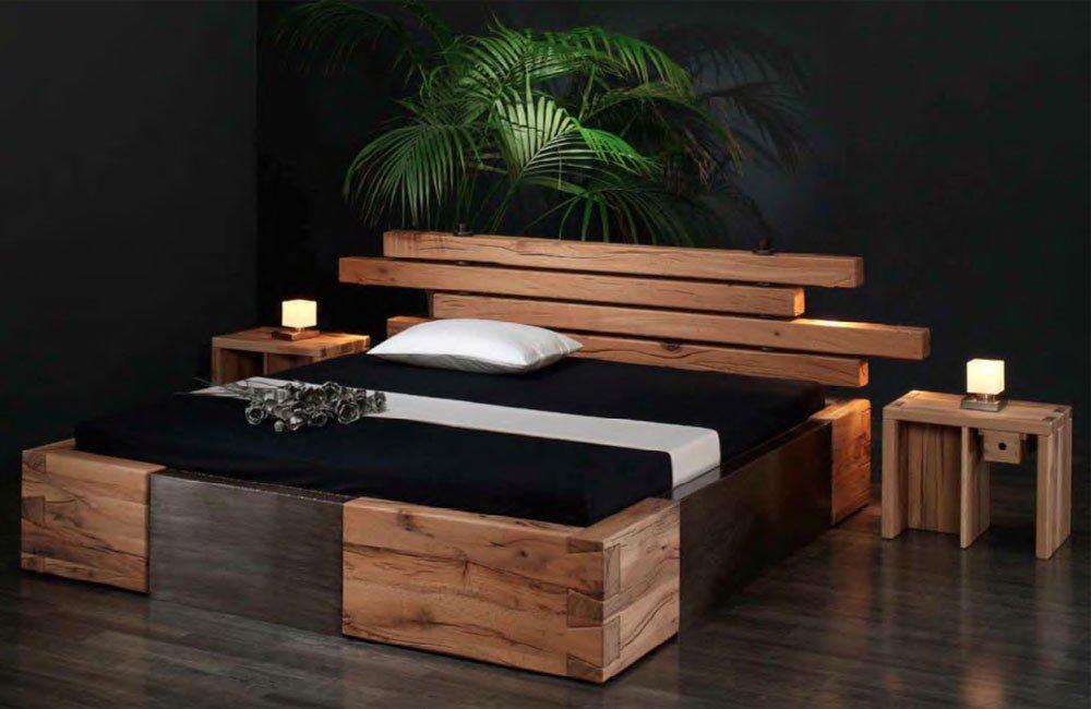 Massivholzbett Brunhilde – rustikales Designerbett, Größe:180x200cm online kaufen