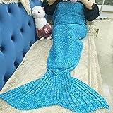 MAGF お昼寝毛布 可愛いひざ掛け 人魚姫に変身 冷房対策にも最適 着る毛布 柔らかい 防寒 暖かい さまざまな色 (海の靑)