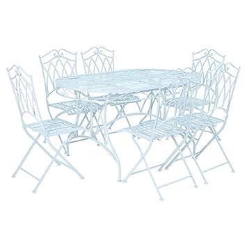 Charles Bentley Garden 7 Piece Wrought Iron Furniture Set - Blue