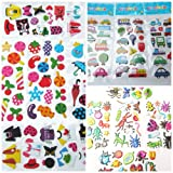 25 x small sheets of kids stickers for craft, scrap books, card making, gift party bags: insects, cars, trucks, fashion, cute bears, rabbits, etc