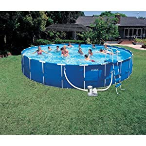 Easy set swimming pools intex 24 foot by 52 inch family size round metal frame pool set for A swimming pool is circular with a 40 ft diameter