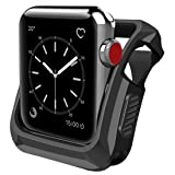 SporTop Apple Watch Series 3 Case 42mm with Buit in TPU Screen Protector Ultra-Thin Anti-Scratch Flexible Case Soft Protective Bumper Cover, Replacement for iWatch 3 42mm case (Color: Black-42mm)