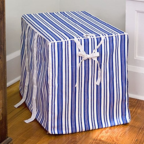 Xx-Large Doghouse Blue Stripe Canvas Dog Crate Cover front-914828