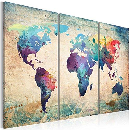 Quadro 120x80 cm - 3 Parti - Quadro su tela fliselina - Stampa in qualita fotografica - mappa mondo 020113-47 120x80 cm B&D XXL