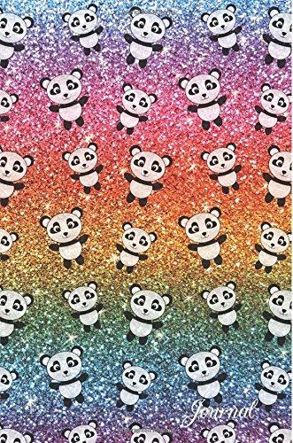 Journal-Faux-rainbow-glitter-panda-notebook