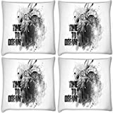 Snoogg Time To Dream Pack Of 4 Digitally Printed Cushion Cover Pillows 16 X 16 Inch