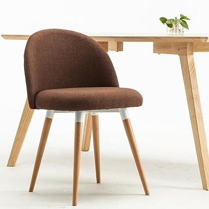 LINGZHIGAN Poltrona semplice in lino marrone scuro Montaggio del sedile del panchetto in legno massiccio Sedie in legno massiccio Sedie al caffè