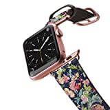 Casetify, Apple Watch Band 38mm | Floral Saffiano Leather Premium Replacement Watch Strap For Women Girls | (Keepsake Pattern) | Rose Gold Adapter and Buckle For Series 1 Series 2 - Pink, Navy (Color: Keepsake)