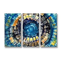 Neron Art - Handpainted Abstract Oil Painting on Gallery Wrapped Canvas Group of 3 pieces - Blue Laguna 48X32 inch (122X81 cm)