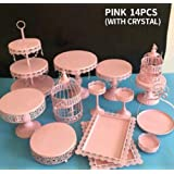 Cupcake Stands, 14 Set Metal Crystal Cake Holder Cupcake Stand Cake Dessert Holder with Pendants and Beads,Wedding Birthday Dessert Cupcake Pedestal Display, Pink USA STOCK (14, pink) (Color: Pink, Tamaño: 14 Sets)