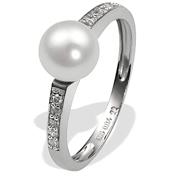 9Ct White Gold Ring With 1 Cultured Pearl And 10 Diamonds 0.04 Carat By Goldmaid