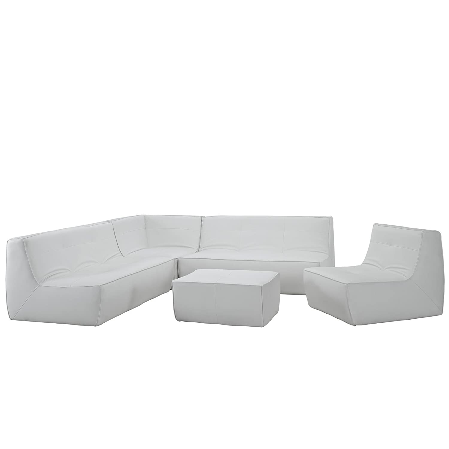 Align 5 Piece Bonded Leather Sectional Sofa + FREE Ebook for Modern Home Design Inspirations