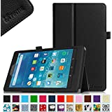 "Fintie Fire HD 8 2015 Folio Case - Slim Fit Premium Vegan Leather Standing Cover with Auto Wake / Sleep for Amazon Fire HD 8 Tablet (Fire 8"" HD Display 5th Generation - 2015 release), Black"