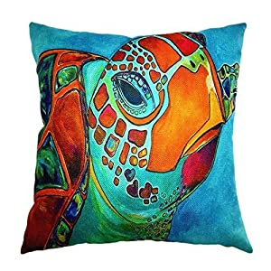 Zippered Diy Pillow Cases Cover Sea Turtle Cushion 18x18