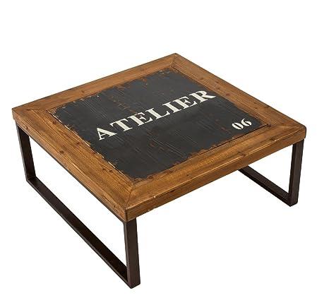 Mesa de centro estilo lindustrial angular madera metal gris marrón 80 x 80 x 35,5