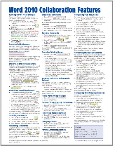 Microsoft Word 2010 Collaboration Features Quick Reference Guide (Cheat Sheet Of Instructions, Tips & Shortcuts - Laminated Card)
